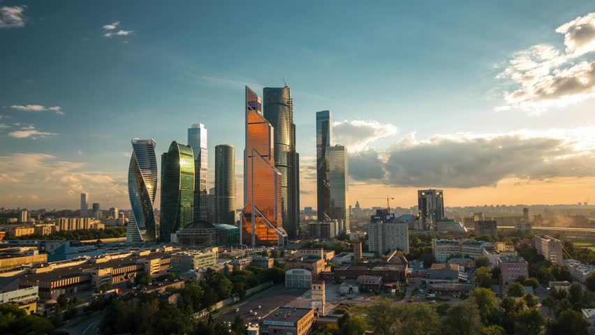 Sunny summer day moscow world trade center Moscow city skyscrapers sunset panorama 4k time lapse russia | Shutterstock HD Video #23646478