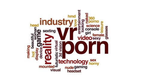VR porn animated word cloud, text design animation.