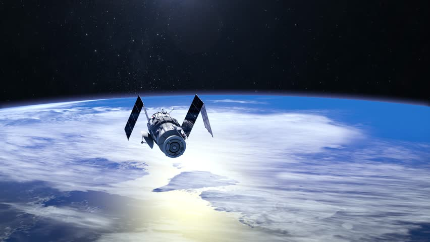 Satellite. The satellite is approaching. Solar panels are revealed. The tracking camera. 4K. NASA. 3D Animation.