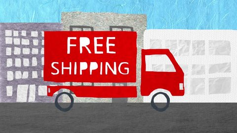 Truck with FREE SHIPPING written on it driving in urban area. Cartoon stop motion animation.