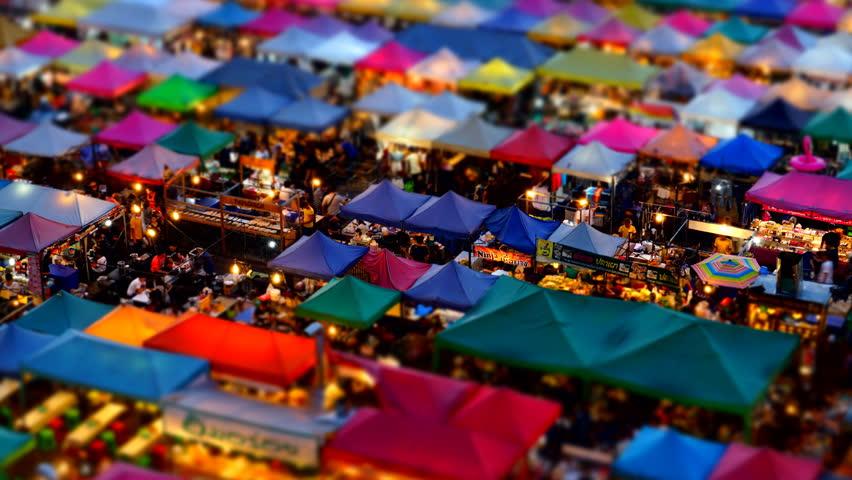 Bangkok, Thailand - January 22, 2017 : Time-Lapse people shopping at Train Night Market Ratchada, Bangkok, Thailand | Shutterstock HD Video #23730748