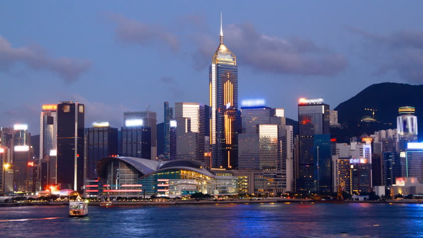 Hong Kong Victoria harbour and city skyline at night