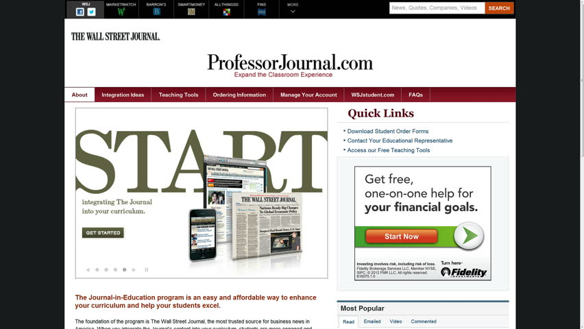 UHD 4K Screen displays popular financial and business websites (Wall Street Journal, Hoovers, Market Watch, Barron's, CNN Money, Yahoo Finance, Nasdaq, MSN Money). Financial internet surfing timelapse