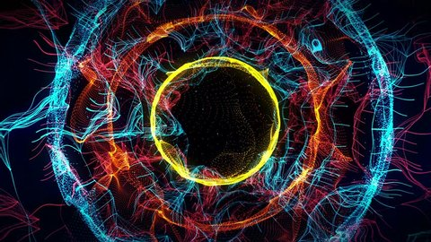 Seamless colorful abstract animation hole path in particle light element background texture pattern. Space wormhole tunnel path used for screen saver decoration or hypnotizing therapy in 4k ultra HD
