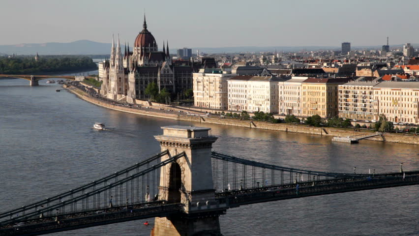 The Szechenyi Chain Bridge (Lanchid) and the Danube waterfront in Budapest, Hungary -
