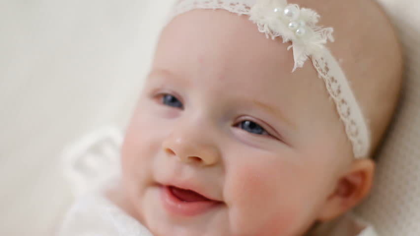 22661553d Baby Girl in White Dress Stock Footage Video (100% Royalty-free ...