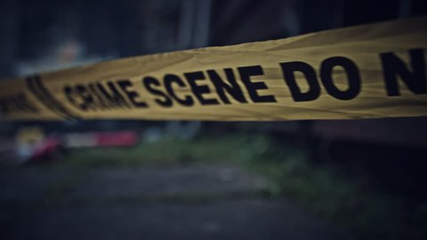 4K Crime Scene with Evidence Do Not Cross Close-up