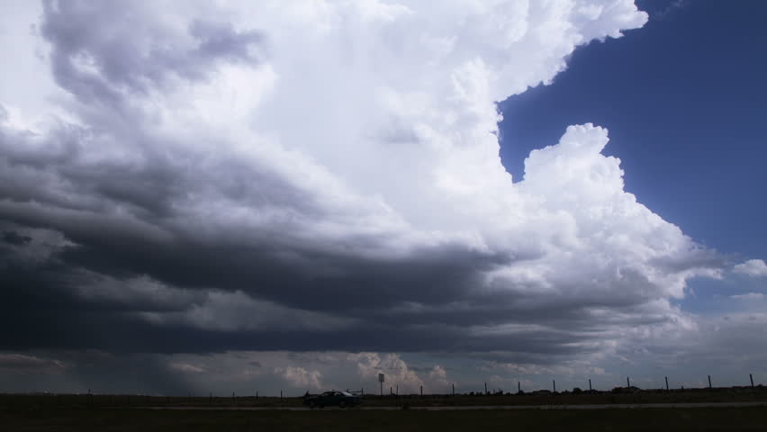 Timelapse of towering cumulonimbus clouds at the edge of a massive, tornado-producing storm cell in eastern Colorado. HD 1080p time lapse.