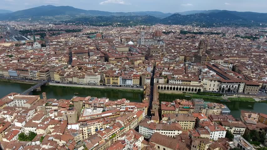 Aerial flight over Italy Florence is traditionally popular tourist destination in Italy and one of main tourist attraction by number capital city of Italian region of Tuscany and Metropolitan City 4k