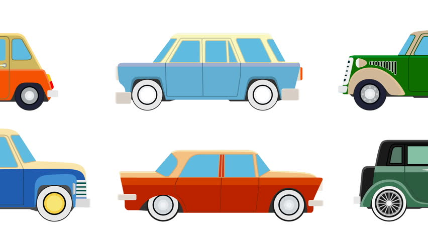 Cartoon Traffic Cars Driving in different directions on white background. Full HD Video