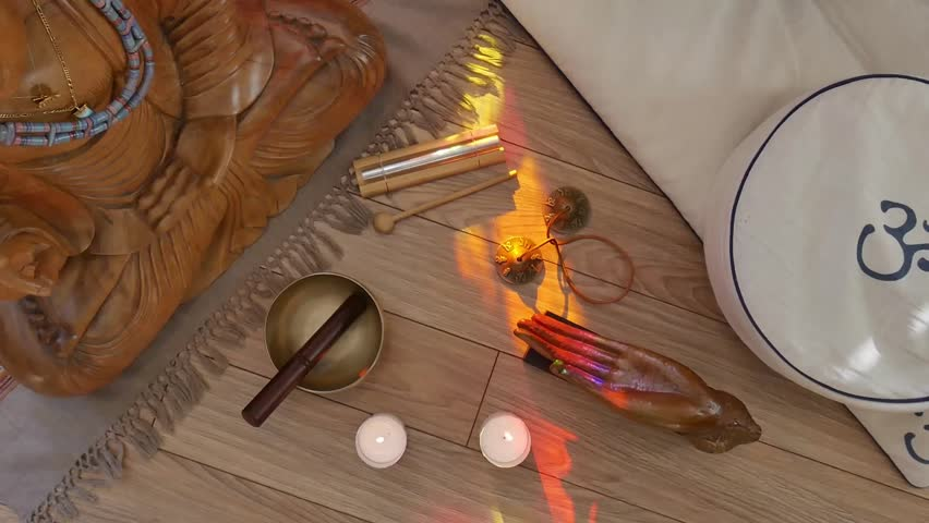 Top View Setup Of Meditation Objects Stock Footage Video 23885425 ...