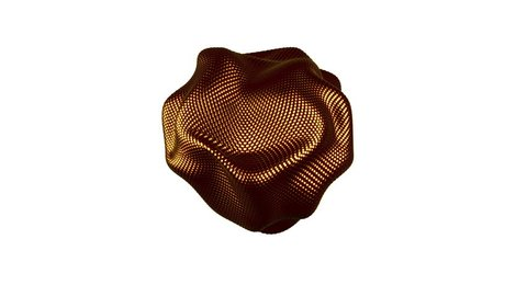 Metamorphose of amorphous shape from gold spheres abstract animation of future shape Seamless