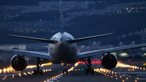 Jet aircraft to take off during sunset