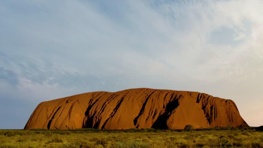 High-quality, cinematic skyline of the sacred mountain Uluru in Australia.   Shutterstock HD Video #23917288