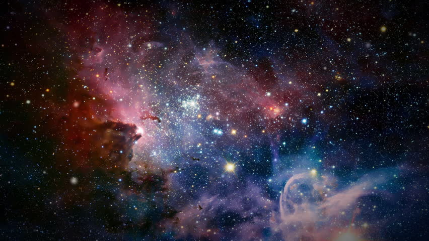 Flight Through Space With Galaxy and Nebulae simulation | Shutterstock HD Video #23917498