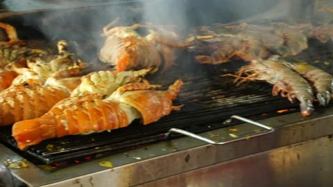 Grilling lobsters