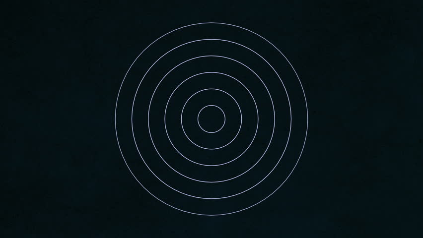 Background with concentric rings moving. Animation of radio wave, radar or sonar. Hypnotic graphic effect.