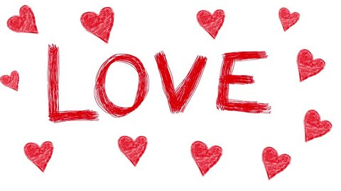 Handmade Love word with hearts around doodle animation. Pure white background.