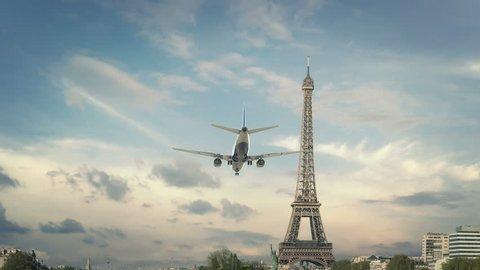 Airplane Landing Paris France