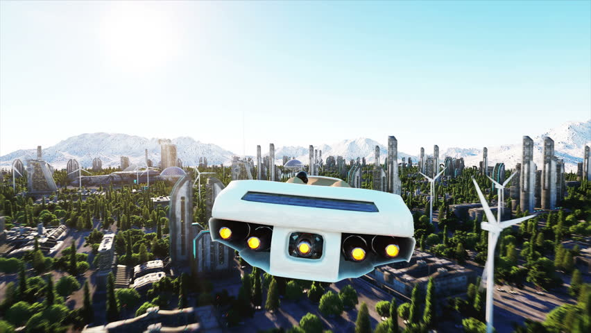 futuristic car flying over the city, town. Architecture of the future. Aerial view. Super realistic 4k animation.