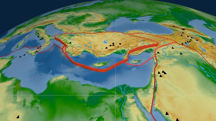 Anatolia tectonics featured. Physical. Plate extruded and animated against the globe. Tectonic plates borders (newest division), earthquakes by strength & volcanic cones | Shutterstock HD Video #23961529