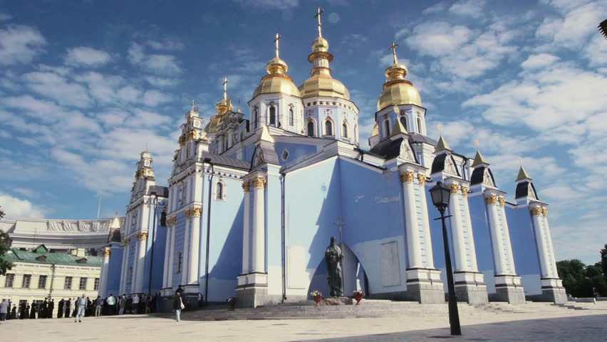 People walking at St. Michael's Golden-Domed Monastery on May 23, 2012 in Kiev, Ukraine. St. Michael's Golden-Domed Monastery  is a functioning monastery in Kiev.