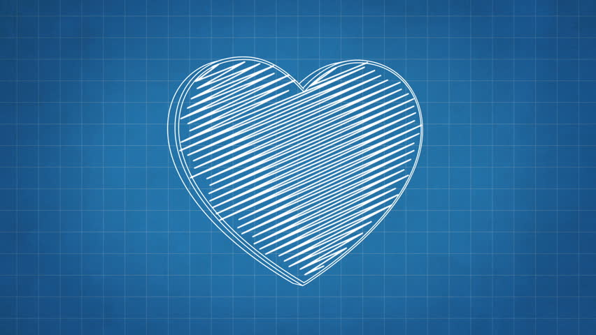 Married couple blueprint stop motion style animation stock footage hand drawn heart symbol rotating on the blueprint paper seamless loop animation hd malvernweather Gallery