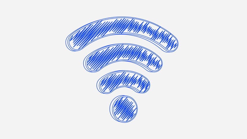 Hand drawn wireless icon rotating on the blueprint paper seamless isolated hand drawn blue wireless icon rotating on the white background seamless loop animation malvernweather Choice Image