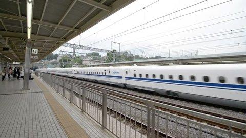 HAKONE, JAPAN - MAY 2016: The Shinkansen train in transit in Hakone train station, Japan. Shinkansen is a network of high-speed railway lines in Japan..