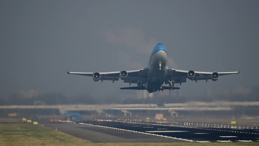 SCHIPHOL, AMSTERDAM, THE NETHERLANDS - FEBRUARY 13: A KLM Boeing 747 plane is taking off from the runway on February 13, 2017 in Schiphol, Amsterdam, the Netherlands.
