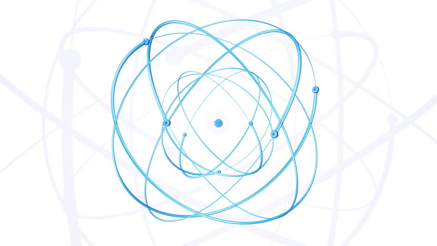 Hand drawn abstract atom rotating on the blueprint paper seamless blue glass atom rotating on the white background seamless loop animation 4k ultra malvernweather Choice Image