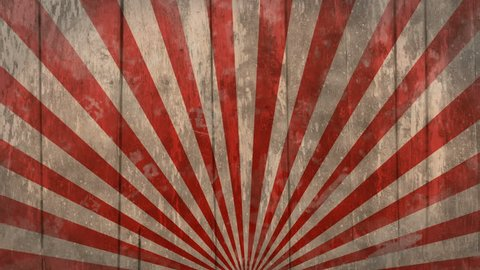 freak show vintage striped wooden background. Seamless loop, with flashing vignette. Ideal as a backdrop for creepy, circus, fair or western themed project.  Red and white, 4K, 60fps