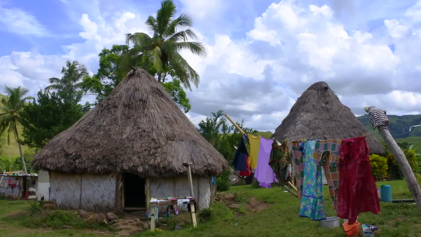 Fijian bures in Navala village in the Ba Highlands of northern-central Viti Levu, Fiji. It is one of the few settlements in Fiji which remains fully traditional architecturally.