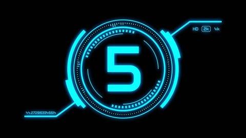 film leader countdown animation, hud sci-fi style, alpha mask