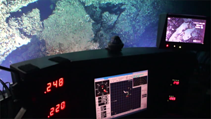Life of reefs coral deep sea view from submarine in 300 m depth Pacific Ocean. Extreme diving.