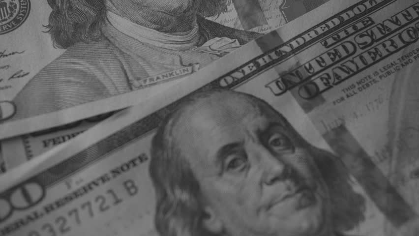 Businessman is Counting New Dollar Bills. Dollars Close-Up Black & White    Shutterstock HD Video #24125338