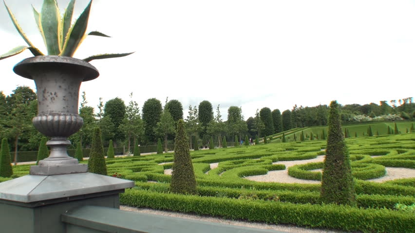 Stock video of boxwood garden at frederiksborg palace, denmark ... on