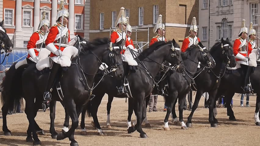 LONDON - APRIL 20: Members of the Household Cavalry on duty at Horse Guards during Changing of the Guard ceremony in London on April 20, 2012. The Cavalry are the lifeguards of Queen Elizabeth II.