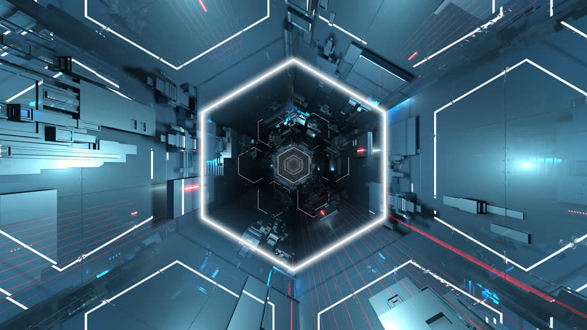 4K Ultra HD hexagonal tunnel.