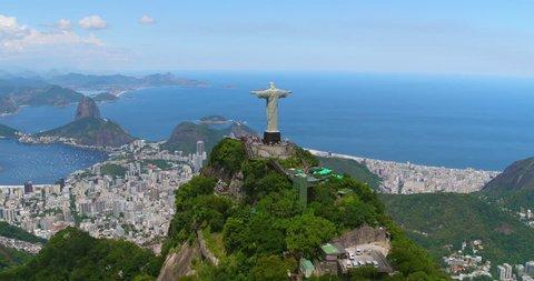 Aerial view of Sugarloaf Mountain and Botafogo Bay, Rio de Janeiro, Brazil