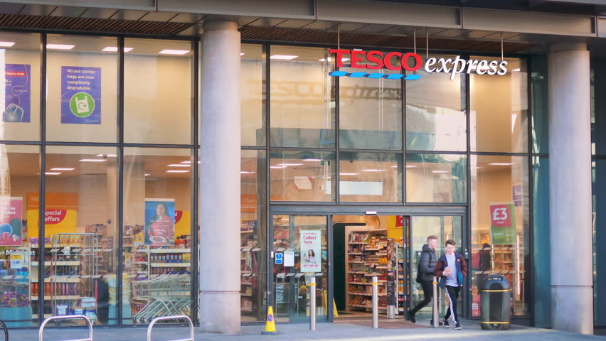 EDINBURGH, SCOTLAND - JAN 23: Tesco Express store open for business on January 23, 2017. grocery retailer