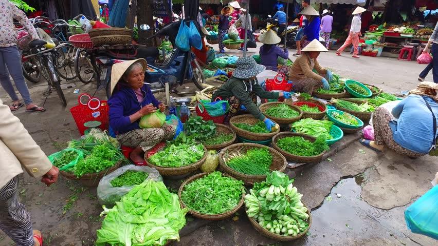 Hoi An, Vietnam - February, 2016: Outdoor markets in the streets of Hoi An, Vietnam