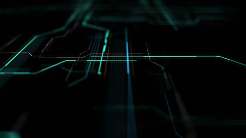 Abstract digital background made of different shapes with hight detailed elements. Rich details and depth of field effect. Geometry lines with dashes and glow. 3d rendering.
