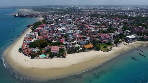 Aerial view Stone town Zanzibar island, coastline, Shooting with the drone.