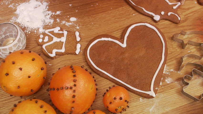 Decorating gingerbread biscuits, Sweden.