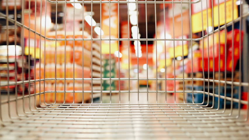 Shopping cart moving through store | Shutterstock HD Video #24298418