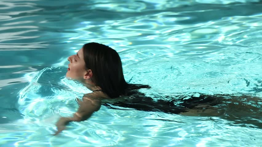 The girl in a swimming pool