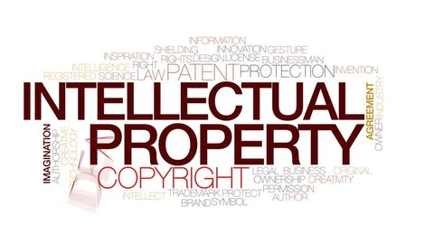 Intellectual property animated word cloud, text design animation. Kinetic typography.