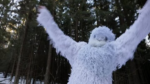 Yeti fairy tale character in winter forest. Outdoor fantasy slow motion footage.