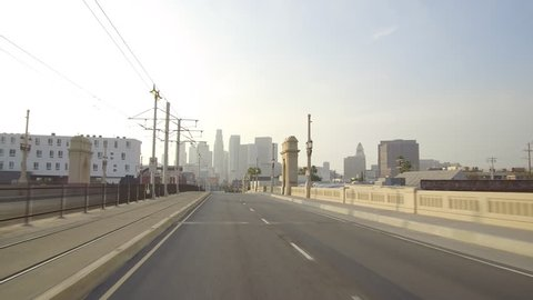 Traveling Across The First Street Bridge In Downtown Los Angeles